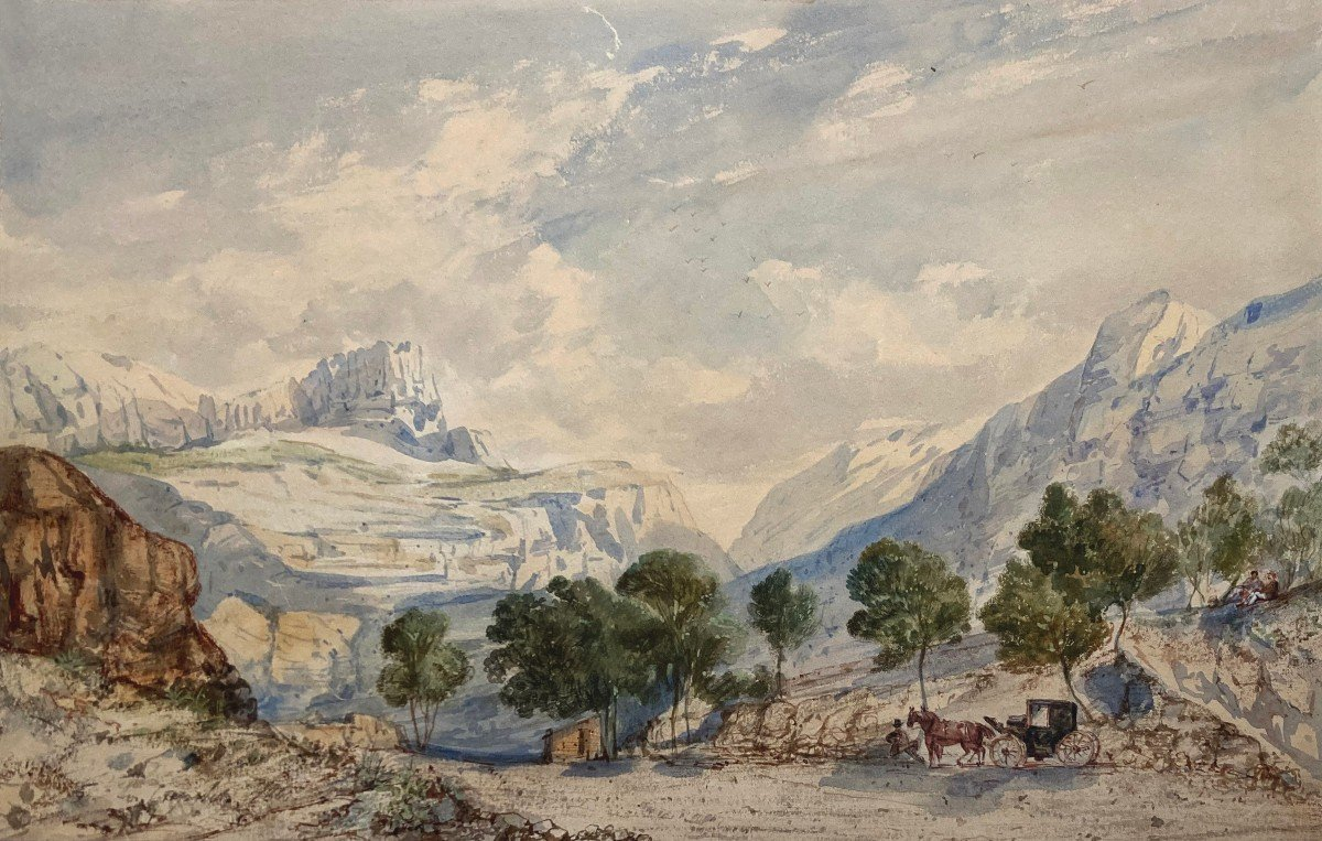 """Crapelet Louis Amable (1822-1867) """"landscape With The Carriage"""" Watercolor, Signed"""