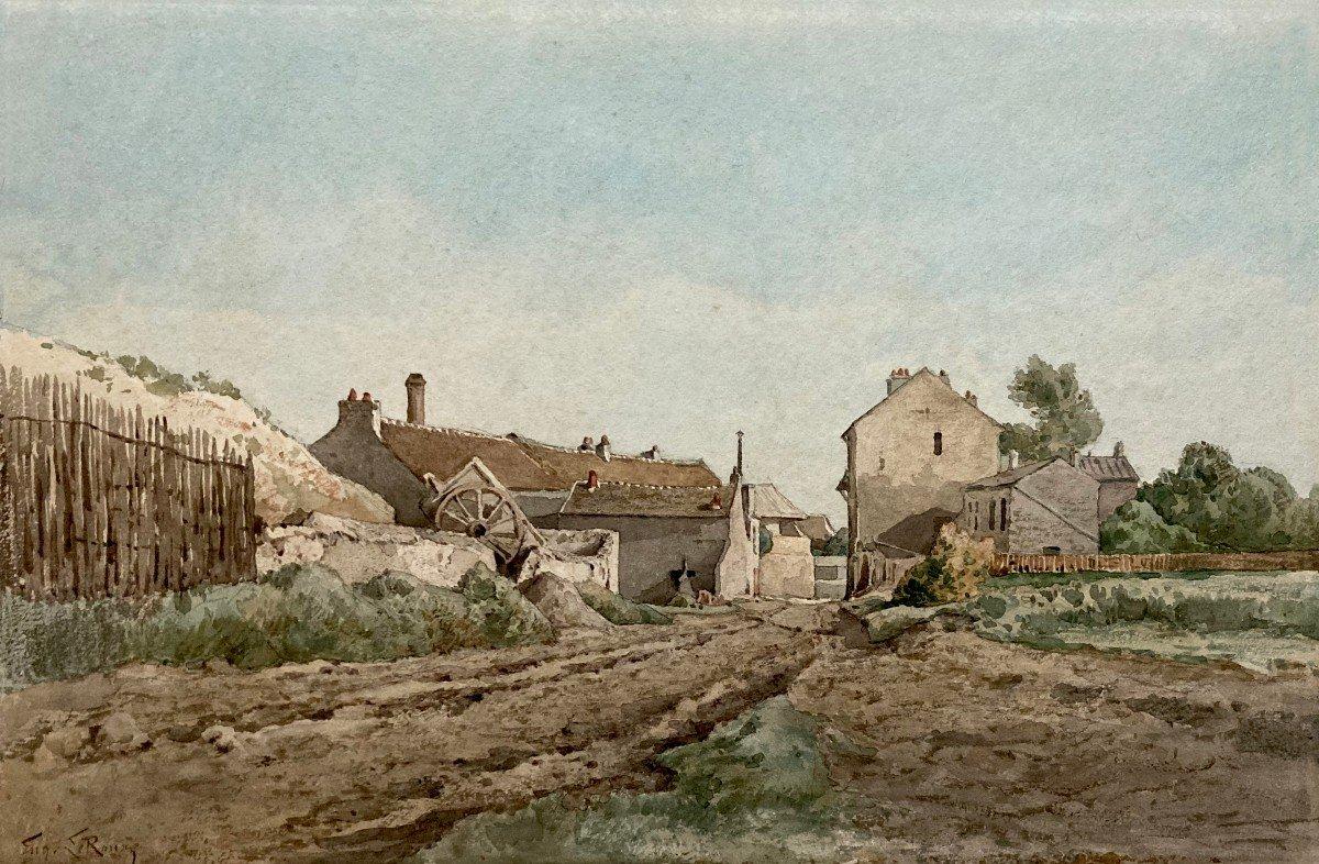 """LE ROUX Louis Eugène (1833-1905) """"Paysage à la ferme"""" Aquarelle, signé"""