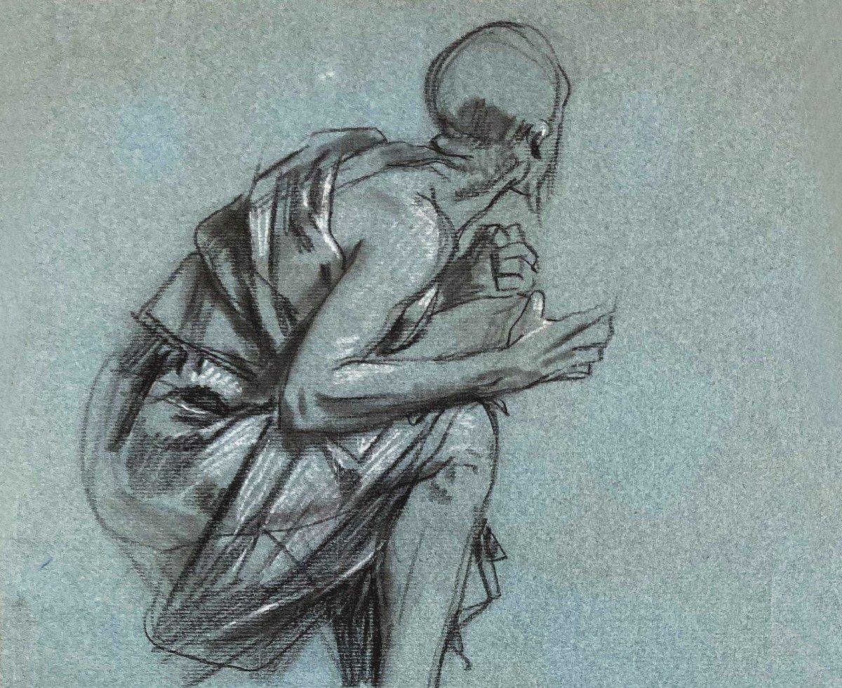 """SURAND Gustave (1860-1937) """"Homme agenouillé"""" Dessin/Crayon noir,craie blanche,Signé/monogramme-photo-2"""