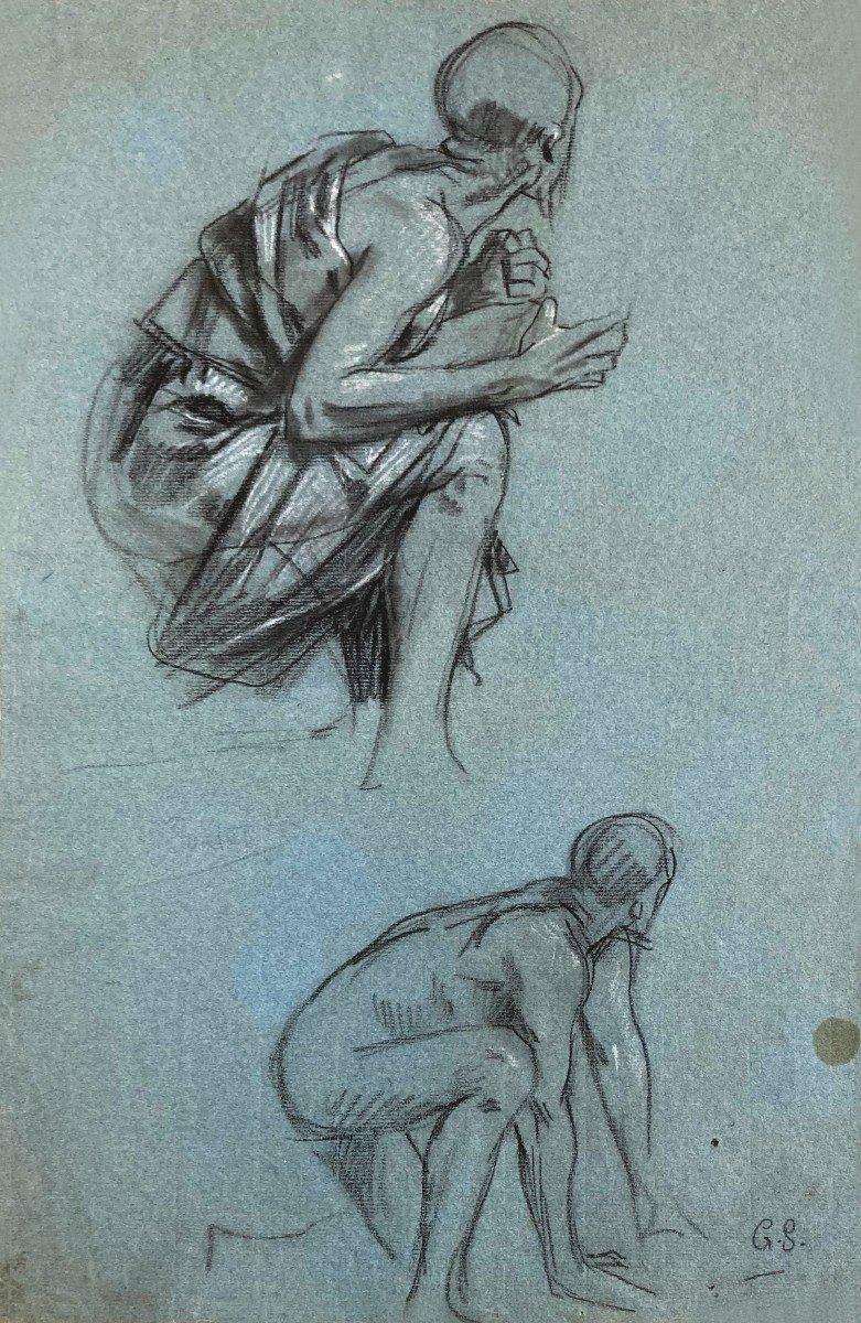 """SURAND Gustave (1860-1937) """"Homme agenouillé"""" Dessin/Crayon noir,craie blanche,Signé/monogramme"""