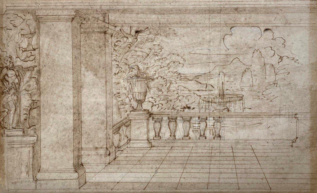 """ECOLE FRANCAISE 17E """"Jardin vu d'une terrasse"""" Dessin/Plume et lavis brun"""