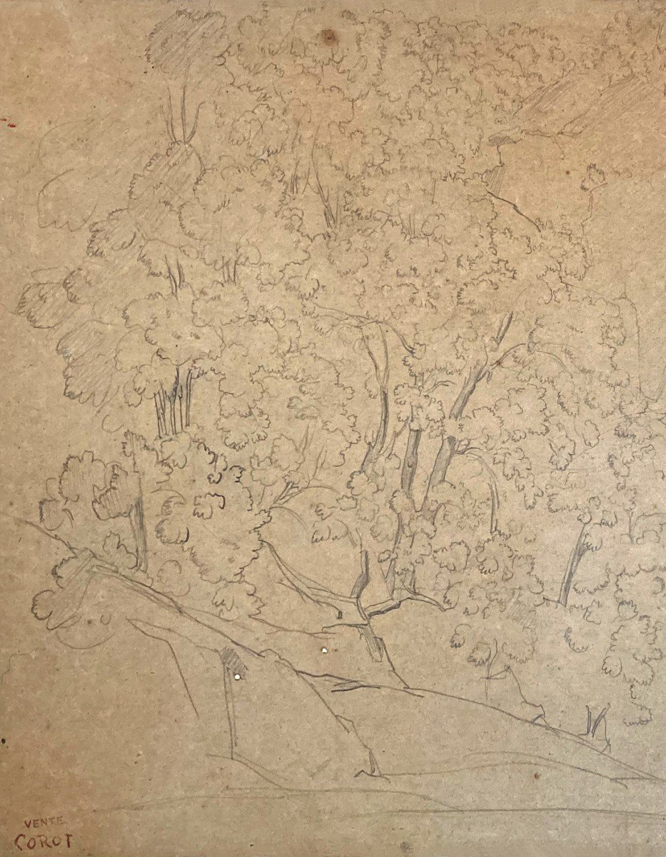 """Corot Jean Baptiste Camille (1796-1875) """"trees And Rocks"""" Drawing/black Pencil,stamp/corot Sale-photo-2"""