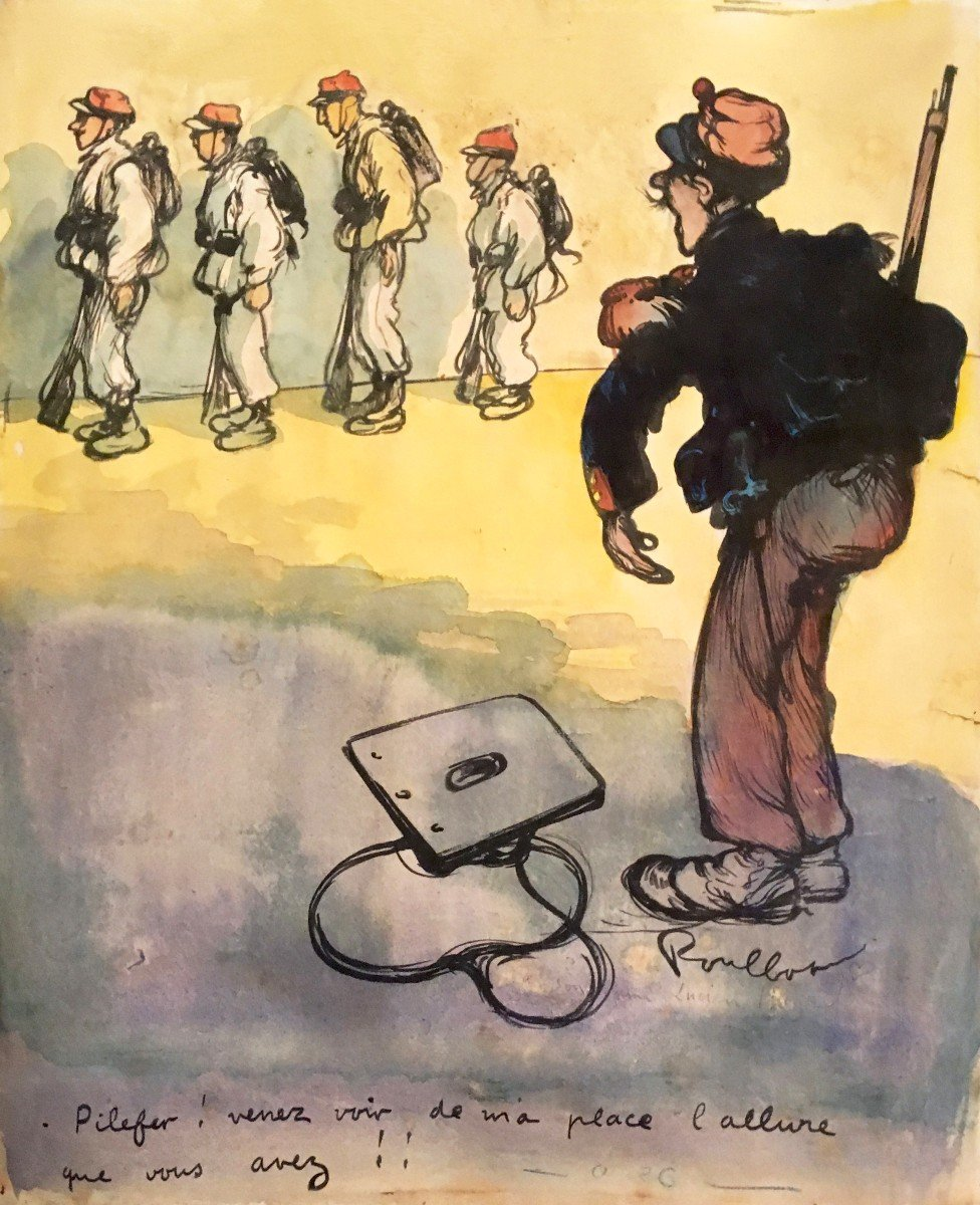 """Poulbot Francisque (1879-1946) """"military"""" Drawing/ink, Watercolor, Signed And Annotated"""