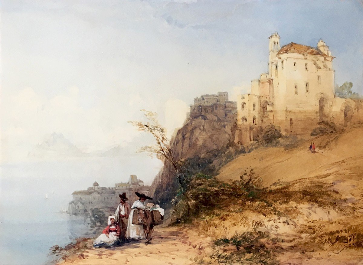 """Callow William (1812-1908) English School, """"landscape Of Italy"""" Watercolor, Signed, Frame Circa 1900"""
