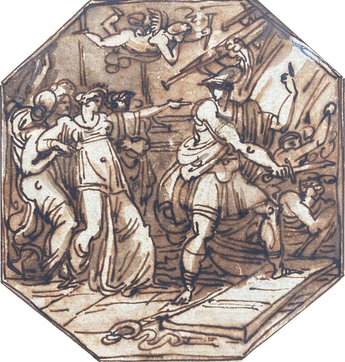 """GIANI Felice (1758-1823) Attribuè à """"Sujet mythologique"""" Dessin/Plume et lavis brun"""