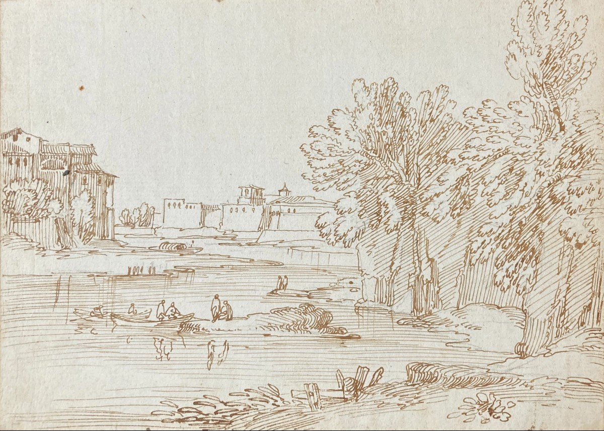 """BUSIRI Giovanni Battista (1698-1757)""""Paysage animé à la rivière"""" Dessin/Plume, Cachet SACCHETTI"""