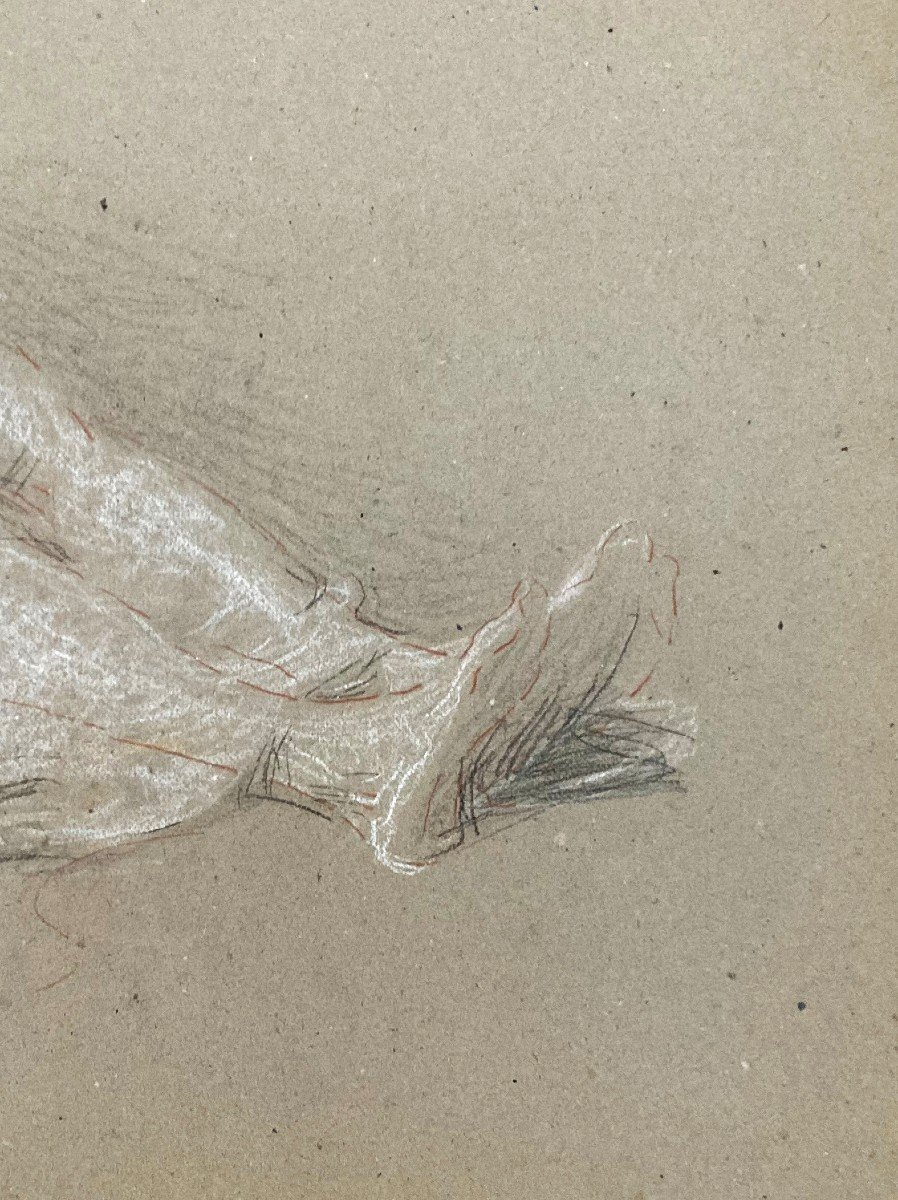 """Laurent Ernest (1859-1929) """"study Of Elongated Legs""""drawing/black Pencil,red Chalk,signed/stamp-photo-3"""