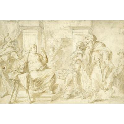 """Sujet tiré de l'Histoire Ancienne"", SOLE Giovanni Giuseppe Dal, Dessin, Lavis"
