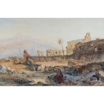 """""""Paysage d'Espagne"""" Aquarelle, Pierre Henri Théodore TETAR VAN ELVEN"""