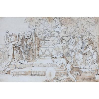 """""""mythological Scene"""" Drawing, Pen And Brown Wash, Attributed To Jean-jacques Lebarbier"""