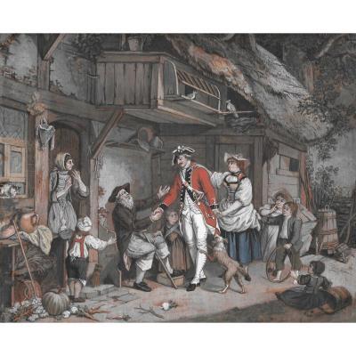 """""""Le retour du soldat"""" Gouache, FREUDENBERG Sigmund, Ecole Suisse"""
