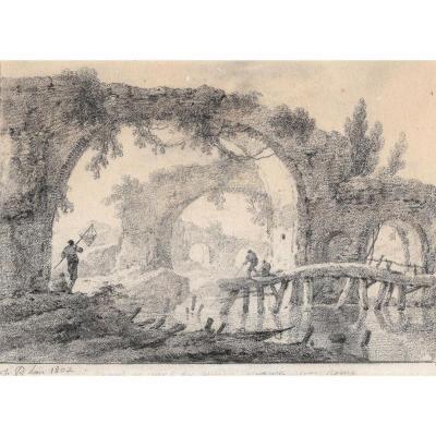 """""""Paysage de ruines et pêcheurs"""" Dessin à la pierre noire, PILLEMENT Jean"""