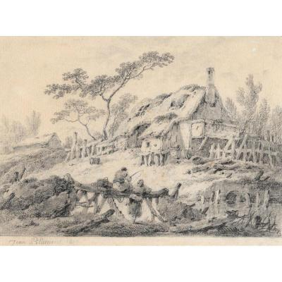 """""""landscape With Cottage And Fishermen"""" Drawing, Jean Pillement"""