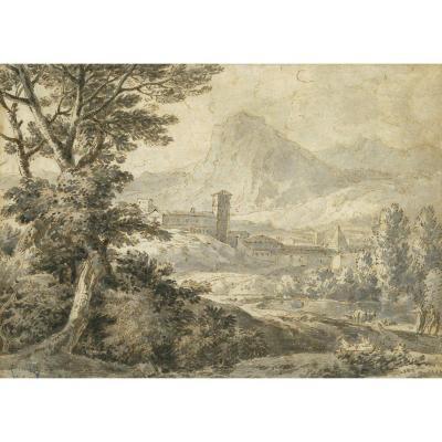 """italian Landscape"" Drawing, Pen & Grey Wash, Jean-antoine Constantin, Named Constantin d'Aix"