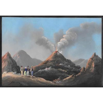 """""""Quatre personnages au bord d'un volcan"""" Gouache napolitaine 19e siècle, Ecole italienne"""