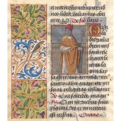"""""""Saint Loup, évêque de Sens"""", Ecole française fin du 15e siècle, encre et gouache sur vélin"""