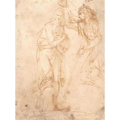 """""""le Baptême du Christ"""" Dessin, plume et lavis brun, Ecole Italienne, Venise, Fin du 16e siècle"""