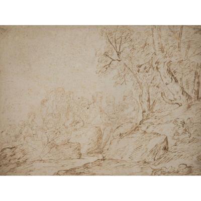 """""""Bélisaire au camp des Bulgares"""" Dessin plume et lavis brun, Ecole italienne 17e siècle"""