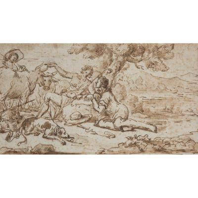 """shepherds And Their Flock"" Drawing, Italian School, 17th Century"