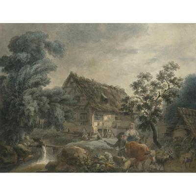 """""""Paysans devant une chaumière"""" Plume et aquarelle, George MORLAND, Attribué à, Ecole Anglaise"""