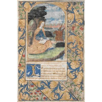 """""""Saint Jean"""" Page d'enluminure, gouache et peinture dorée sur vélin, Ecole Française, vers 1550"""