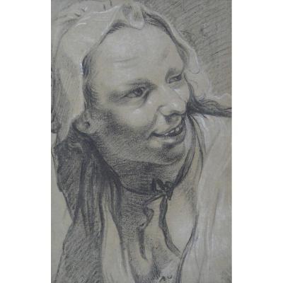 """portrait Of A Woman"" Drawing, Garemyn Jan Anton, Flemish School"