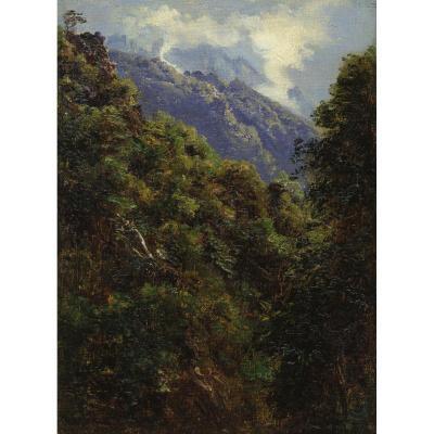 """""""Paysage de montagne"""" Huile sur toile, André GIROUX"""