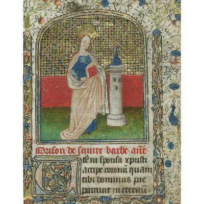 """""""Sainte Barbe"""" Gouache et or sur vélin, Enluminure, Ecole française, fin du 15e siècle"""