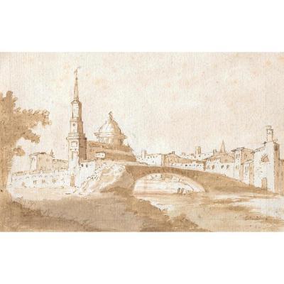 """city With A Bridge"" Pen And Brown Wash, Italian School, Venice, 18th Century"