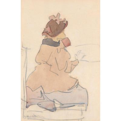 """""""Petite fille de dos"""" Dessin, crayon noir et aquarelle, Jacques VILLON"""