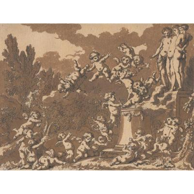 """""""angelots"""" Drawing, Pen And Brown Wash, Philippe-louis Parizeau"""
