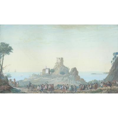 """procession Of Travelers At Eze"" Gouache, Joseph Michel, Known As Michel De Toulon"