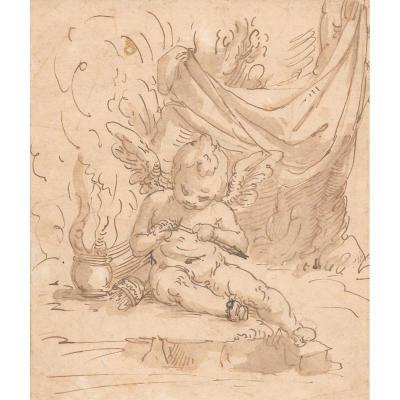 """""""Un ange"""" Dessin à la plume et lavis brun, Ecole Italienne, Gênes, fin 16e/début 17e"""