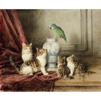 """Chats et perroquet"" Aquarelle, Louis-Eugène LAMBERT"