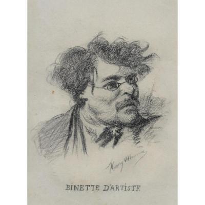 """""""Binette d'artiste"""" Dessin au crayon noir, Henry MONNIER"""