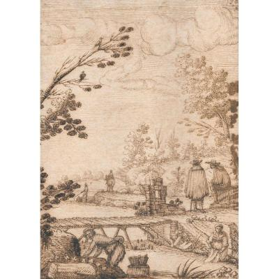 """animated Landscape At The River"" Drawing With Pen, Italian School, 17th Century"