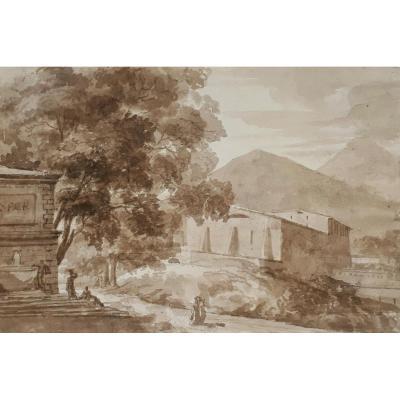"""landscape"" Brown Wash, French School 18th Century"