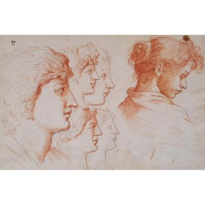 """""""faces Of Women"""" Drawing With Red Chalk, Italian School, Late 17th / Early 18th Century"""