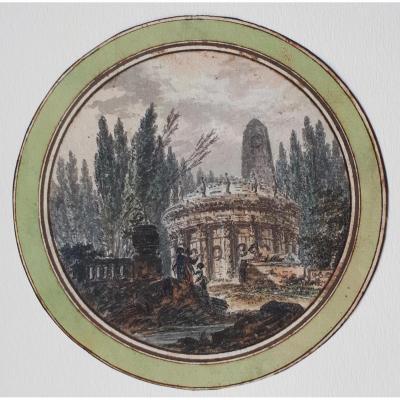 """Paysage"" Plume et aquarelle, Alexandre PERNET, Elève d'Hubert Robert"