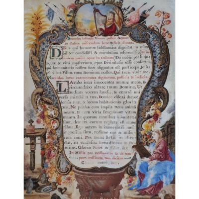 """""""Page enluminée"""", Gouache sur vélin, Ecole française, début du 18e siècle"""