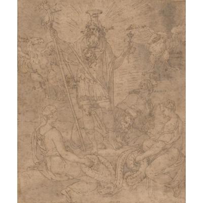"""""""Scène mythologique"""" Dessin/plume, Ecole Italienne vers 1550"""