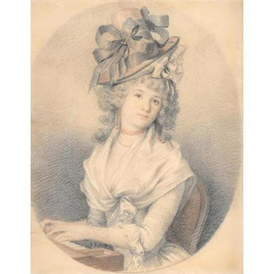 """""""woman With A Hat"""" French School, Late 18th Century, Drawing"""