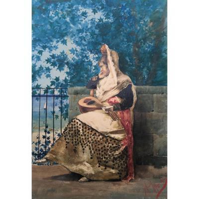 """Femme à la mandoline"" Giuseppe AURELI, Ecole Italienne, aquarelle"