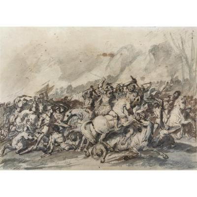 """""""cavalry Shock (2)"""" Jacques Gamelin, Attributed To, Drawing"""