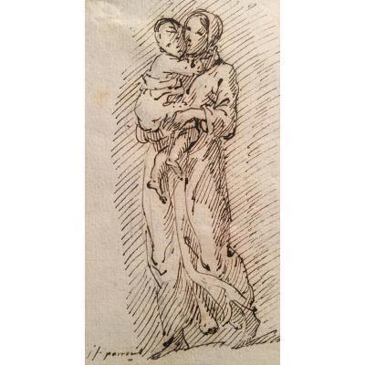 """""""woman Carrying A Child"""" Parrocel Joseph François, Drawing"""