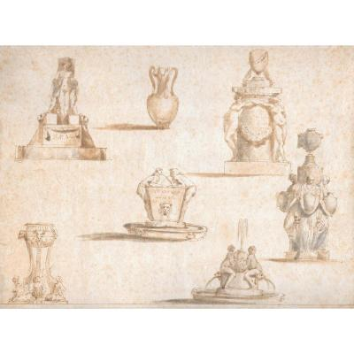 """""""fountains Project"""" Italian School 18th Century, Drawing"""