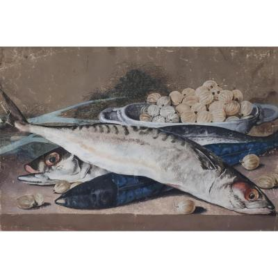 """still Life With Fish"" Drawing, French School 18th Century, Gouache"