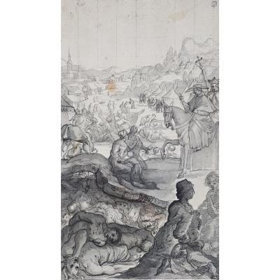 """""""Scène avec un évêque"""" Ecole Italienne fin 17e siècle, Dessin, Plume, Collection PARADIS"""