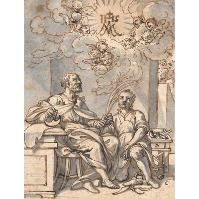 """""""Deux Saints"""" Ecole Italienne 17e siècle, Dessin, plume et lavis"""