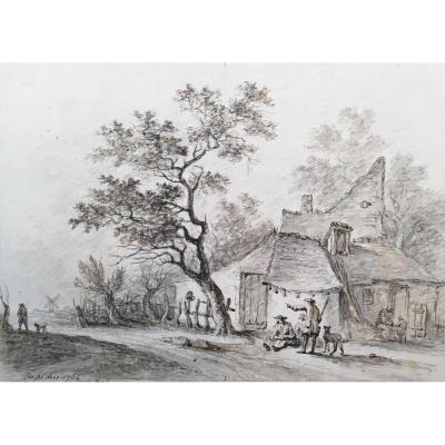 """""""peasants"""" Desfriches Thomas Aignan, Signed Drawing, Black Chalk"""